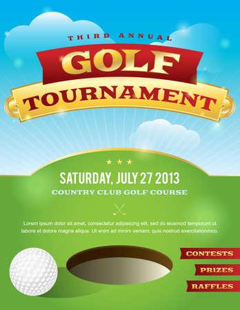 flyer background: Een aardig ontwerp voor een golf uitnodiging toernooi. Stock Illustratie