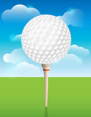 golf ball on tee: A nice design background for a golf tournament invitation, flyer, brochure, or various other golf designs.  Illustration