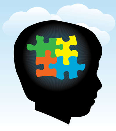A silhouette of a child with symbolic autism puzzle pieces. EPS 10. Transparencies used. Illustration