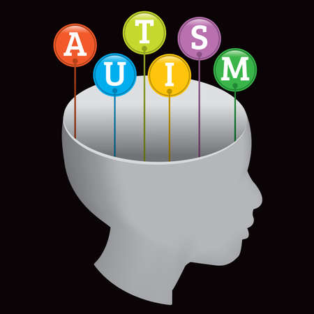autism: A silhouette of a person with the letters A-U-T-I-S-M coming out of the head. EPS 10. File contains transparencies and a gradient mesh.