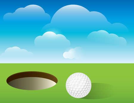 Een aardige illustratie voor een uitnodiging golftoernooi, poster, flyer golf, en nog veel meer. Golfbal naast de kop op groen. Vector EPS-10 beschikbaar. EPS-bestand bevat transparanten en masker. EPS is gelaagd voor eenvoudige optellen en aftrekken van elementen. Stockfoto - 21618620