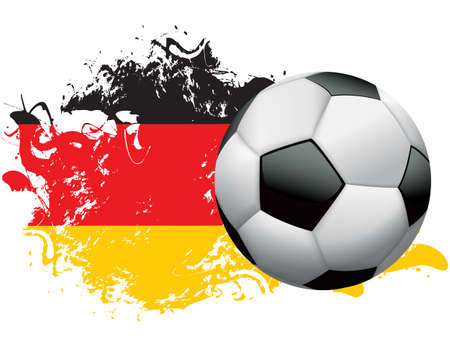 Soccer ball with a grunge flag of Germany. EPS 10. File contains transparencies and gradient mesh.   High resolution 5000 x 3864 px jpg included. Illustration