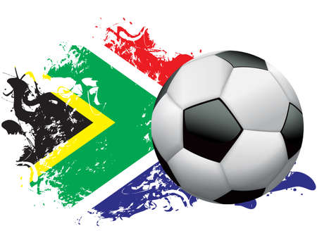 Soccer ball with a grunge flag of South Africa. Vector EPS 10 available. EPS file contains transparencies and gradient mesh. Vector