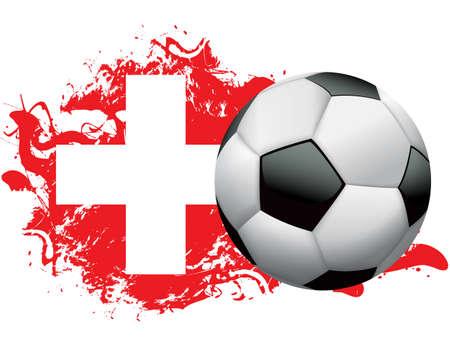 pelota de futbol: Bal�n de f�tbol con una bandera de grunge de Suiza. Vector EPS 10 disponible. Archivo EPS contiene transparencias y mallas de degradado. Vectores