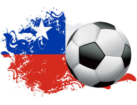 Soccer ball with a grunge flag of Chile. Vector EPS 10 available . EPS file contains transparencies and gradient mesh.