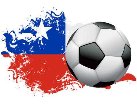 Voetbal bal met een grunge vlag van Chili. Vector EPS-10 beschikbaar. EPS-bestand bevat transparanten en gradiënt maas.