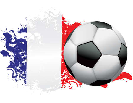 Soccer ball with a grunge flag of France. Vector EPS 10 available . EPS file contains transparencies and gradient mesh.  Ilustracja