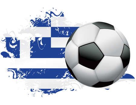 Soccer ball with a grunge flag of Greece. Vector EPS 10 available . EPS file contains transparencies and gradient mesh.  Vector