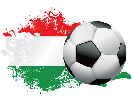 Soccer ball with a grunge flag of Hungary. Vector EPS 10 available . EPS file contains transparencies and gradient mesh.