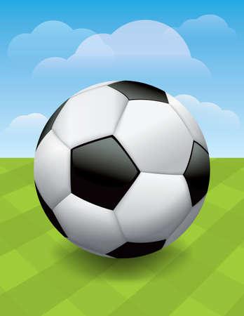 よく維持されたサッカーのピッチ上で現実的なサッカー ボール。ベクトル EPS 10 利用できます。EPS ファイルには透明度とグラデーション メッシュが