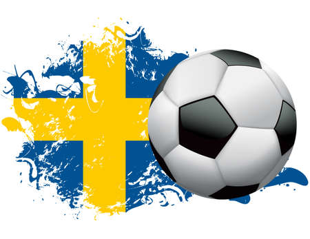 grecian: Soccer ball with a grunge flag of Sweden. Vector EPS 10 available . EPS file contains transparencies and gradient mesh.