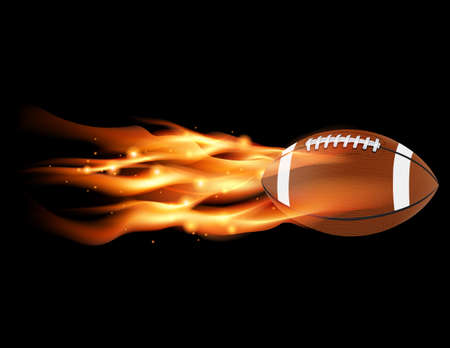 A flaming football flying against a black background. Vector EPS 10 available. EPS file contains transparencies and gradient mesh.