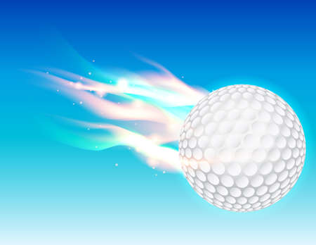 driving range: A flaming golf ball flying in the sky. Vector EPS 10 available. EPS file contains transparencies and gradient mesh.