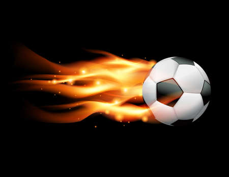 A flaming soccer ball flying against a black background. Vector EPS 10 available. EPS file contains transparencies and gradient mesh. Vector