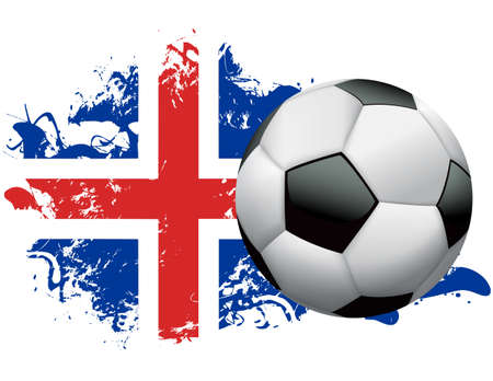Soccer ball with a grunge flag of Iceland. Vector EPS 10. EPS file contains transparencies and gradient mesh. Vettoriali