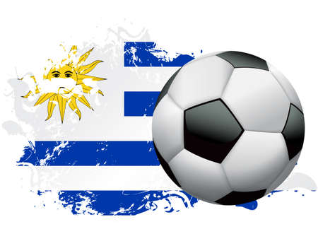 Soccer ball with a grunge flag of Uruguay. Vector EPS 10 available. EPS file contains transparencies and gradient mesh.