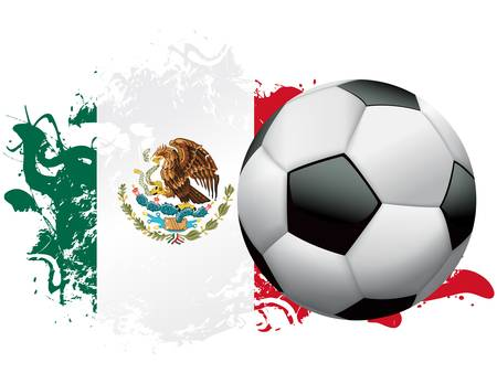 Soccer ball with a grunge flag of Mexico. Vector EPS 10 available. EPS file contains transparencies and gradient mesh.  Çizim