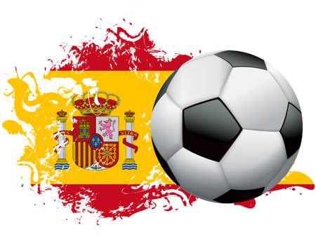 Soccer ball with a grunge flag of Spain. Vector EPS 10 available. EPS file contains transparencies and gradient mesh.