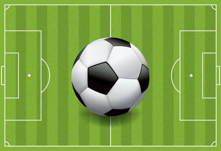 sideline: Una pelota de f�tbol  f�tbol realista sobre un campo de juego de hierba textura