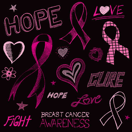 breast cancer awareness ribbon: A handdrawn doodle art sketch of breast cancer awareness symbols.