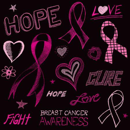 cancer de mama: Un boceto dibujado a mano del arte del doodle de los s�mbolos de concienciaci�n del c�ncer de mama.