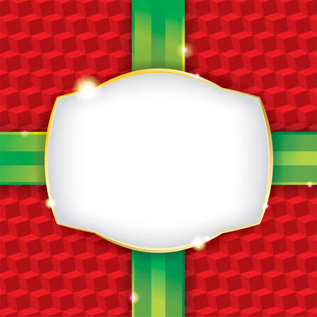 A wrapped Christmas present wrapping paper background with a blank label. Vector EPS 10. File contains transparencies and a gradient mesh. File is organized and layered (highlights, label, ribbon, pattern) for easy adjustments or omission of elements.  Do Vector