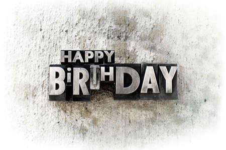"""Las palabras """"feliz cumpleaños"""" escrito en el viejo tipo de tipografía de época. Foto de archivo - 23054046"""