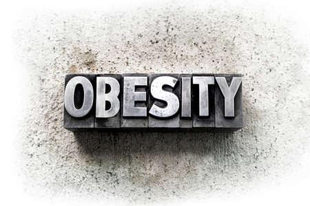 """obesidad infantil: La palabra """"obesidad"""" escrito en antiguo tipo de tipograf�a de �poca."""