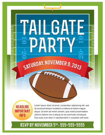 football party: A vector flyer design perfect for tailgate parties, football invites, etc. EPS 10. File contains transparencies. Text is layered for easy removal and customizing. Illustration