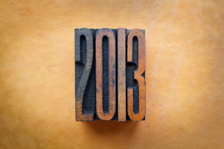 letterpress letters: The year 2013 written in vintage letterpress letters. Stock Photo