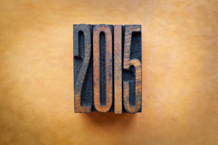 letterpress letters: The year 2015 written in vintage letterpress letters.