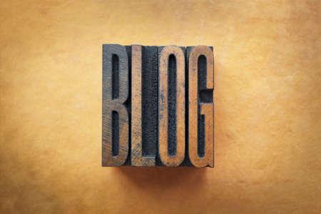 letterpress letters: The word BLOG written in vintage letterpress type.
