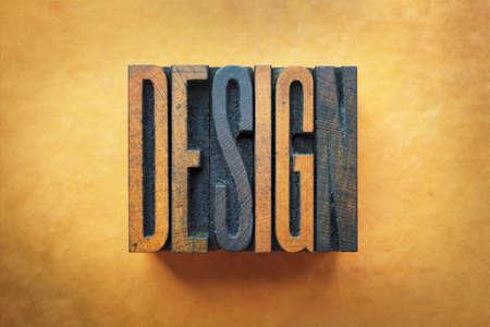 interior designer: The word DESIGN written in vintage letterpress type.
