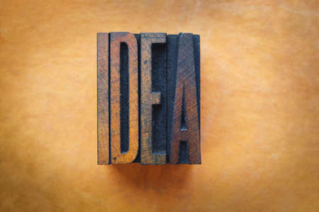 The word IDEA written in vintage letterpress type photo
