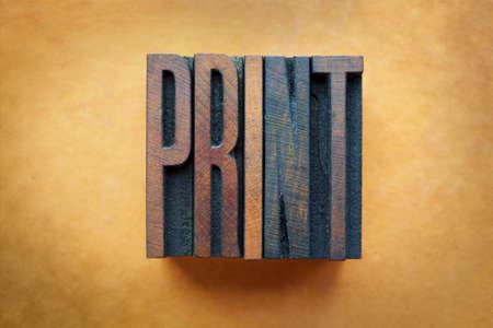 imprenta: La palabra PRINT escrito en tipograf�a tipo vintage