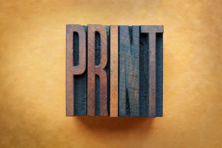 digital printing: The word PRINT written in vintage letterpress type