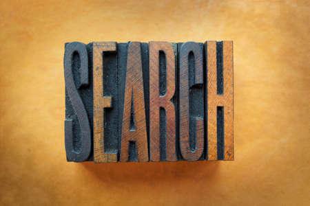 letterpress letters: The word SEARCH written in vintage letterpress type.