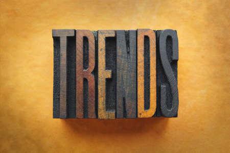 trending: The word TRENDS written in vintage letterpress type.