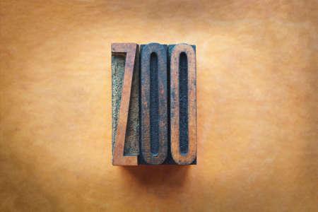 The word ZOO written in vintage letterpress type. Stock Photo