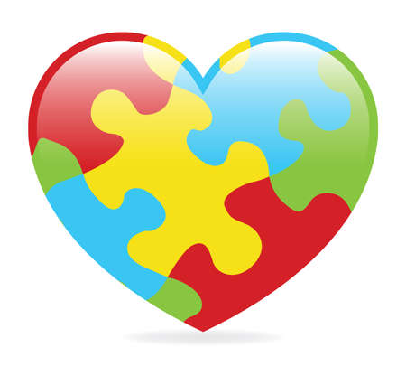 A colorful heart made of symbolic autism puzzle pieces.