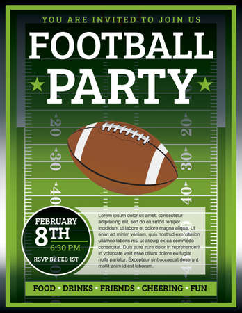 A flyer design perfect for tailgate parties, football invites, etc. EPS 10 available. EPS file contains transparencies. Text in EPS is layered for easy removal and customizing of your text.