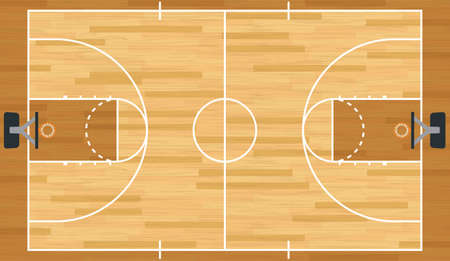 A realistic vector hardwood textured basketball court. Imagens - 24220420
