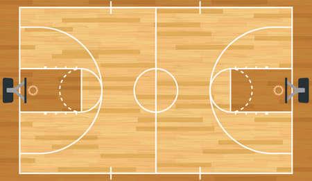 Een realistische vector hardhouten geweven basketbalveld.