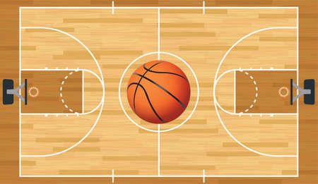 center court: A realistic vector hardwood textured basketball court with basketball in the center court.