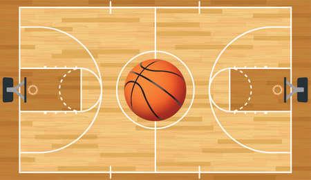 Een realistische vector hardhouten getextureerde basketbalveld met basketbal in het centre court. Stock Illustratie