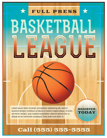 A basketball league flyer or poster perfect for basketball announcements, games, leagues, camps, and more. Illustration