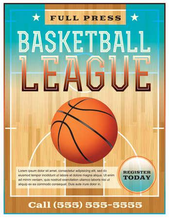 cancha de basquetbol: Un folleto de la liga de baloncesto o un cartel perfecto para los anuncios de baloncesto, juegos, ligas, campamentos, etc.
