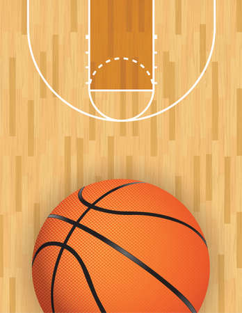 A realistic vector hardwood textured basketball court with basketball at the bottom. EPS 10. File contains transparencies.  Illustration