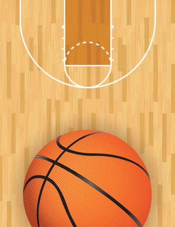 Een realistische vector hardhouten getextureerde basketbalveld met basketbal op de bodem. EPS-10. Bestand bevat transparanten.