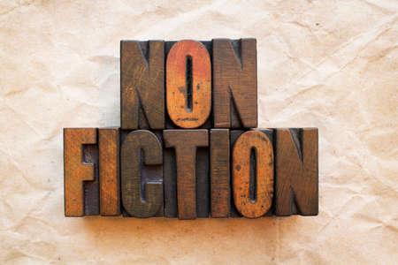 The word Nonfiction written in vintage wood letterpress type. Stock Photo